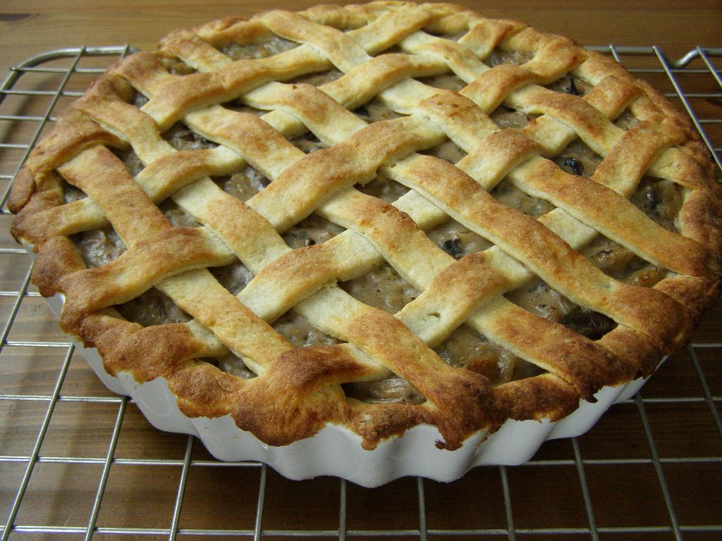 mushroom and pearl barley pie with potato pastry